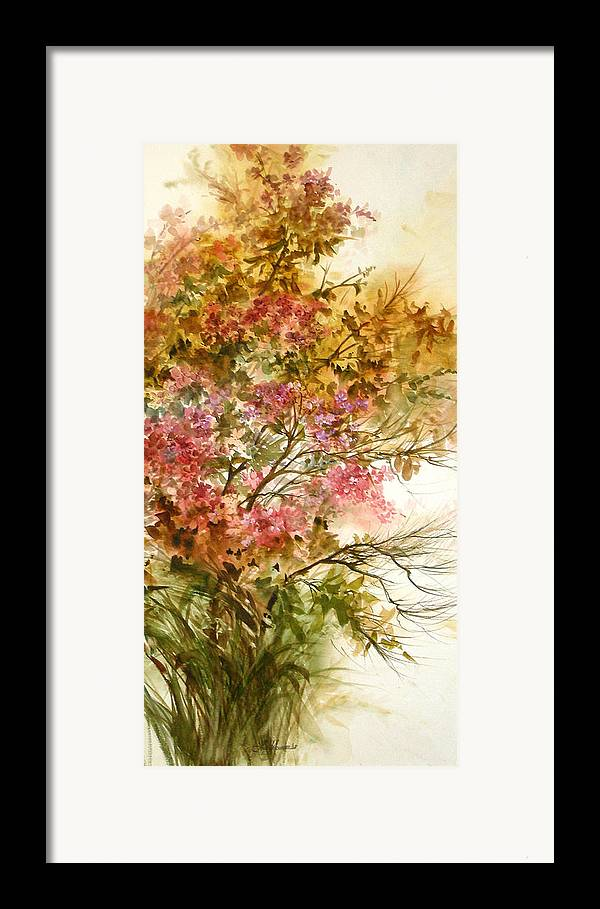 Leaves;blossoms;branches;autumn;pinks;floral; Framed Print featuring the painting Autumn Colors And Twigs by Lois Mountz