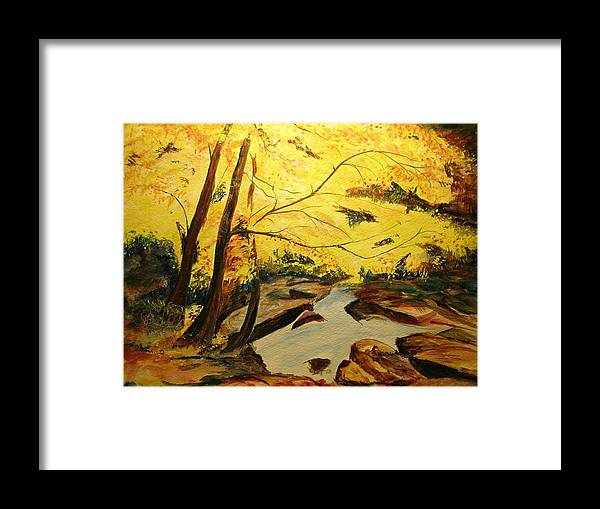 Trees In Autumn Framed Print featuring the painting Autumn Colours by Lizzy Forrester