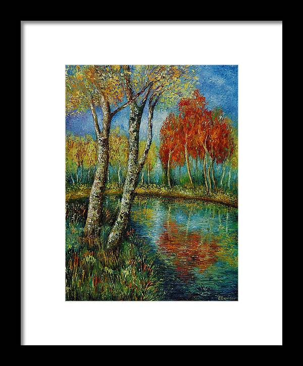 Landscape Framed Print featuring the painting Autumn Day. by Evgenia Davidov