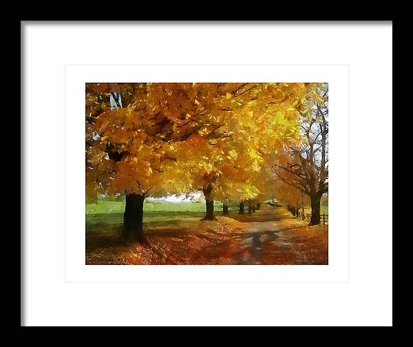 Digital Framed Print featuring the photograph Autumn Drive by Ron Alderfer