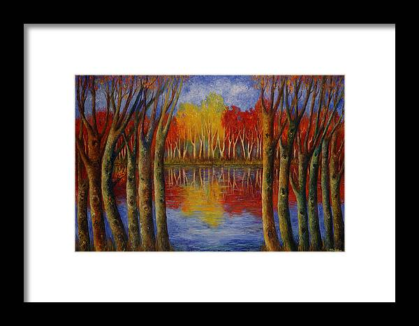 Landscape Framed Print featuring the painting Autumn. by Evgenia Davidov