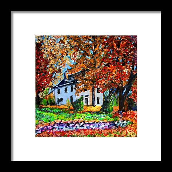 Landscape Framed Print featuring the painting Autumn Farmhouse by Laura Heggestad