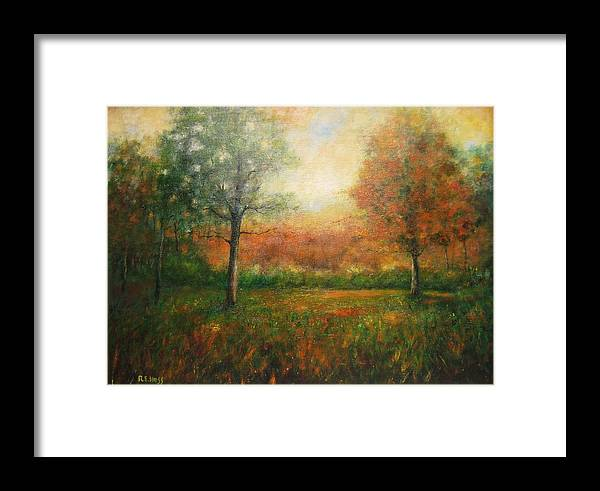 Framed Print featuring the painting Autumn Field by Robert Hess