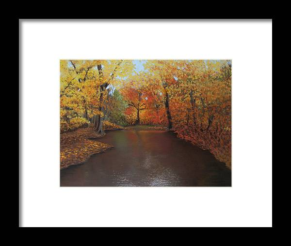 Landscape Framed Print featuring the painting Autumn Fire by Susan Jenkins