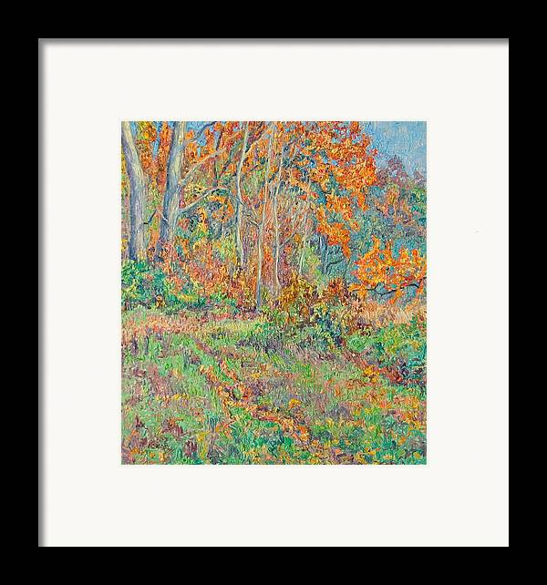 Autumn Framed Print featuring the painting Autumn Forest Path by Vitali Komarov