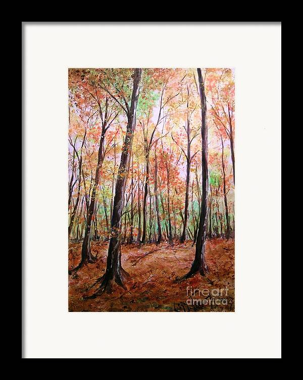 Landscape Framed Print featuring the painting Autumn Forrest by Lizzy Forrester
