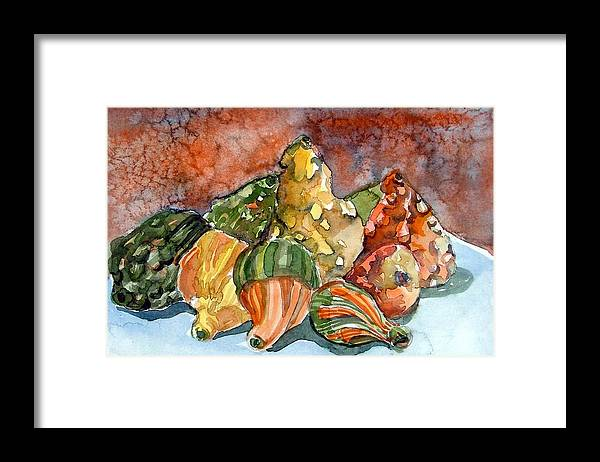 Gourds Framed Print featuring the painting Autumn Gourds by Mindy Newman
