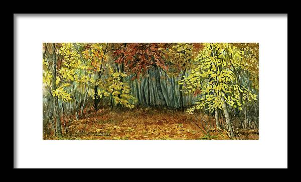 Autumn Framed Print featuring the painting Autumn Hollow by Mary Tuomi
