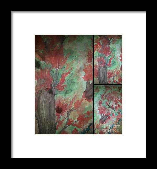 Autumn In My Sould Triptych Framed Print featuring the painting Autumn In My Soul Triptych by Maria Urso
