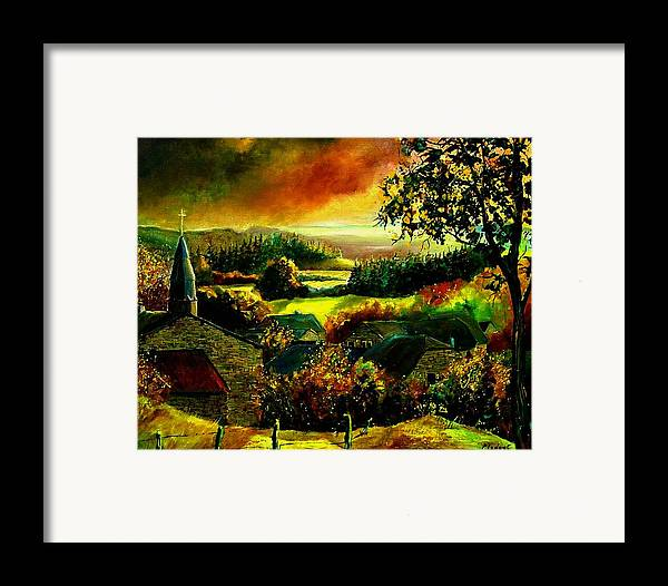 Landscape Framed Print featuring the painting Autumn In Our Village Ardennes by Pol Ledent