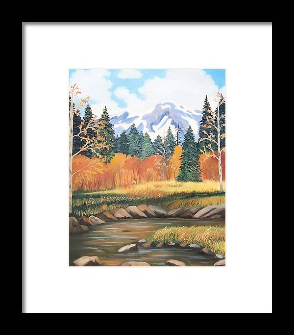 Landscape Framed Print featuring the painting Autumn In The Mountans by Ruth Housley
