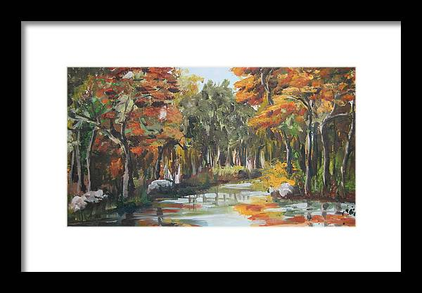 Landscape Framed Print featuring the painting Autumn In The Woods by Mabel Moyano