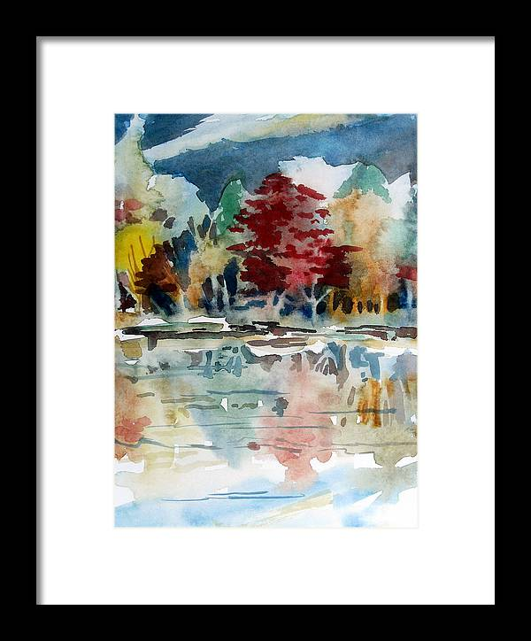 Trees Framed Print featuring the painting Autumn Lake by Mindy Newman
