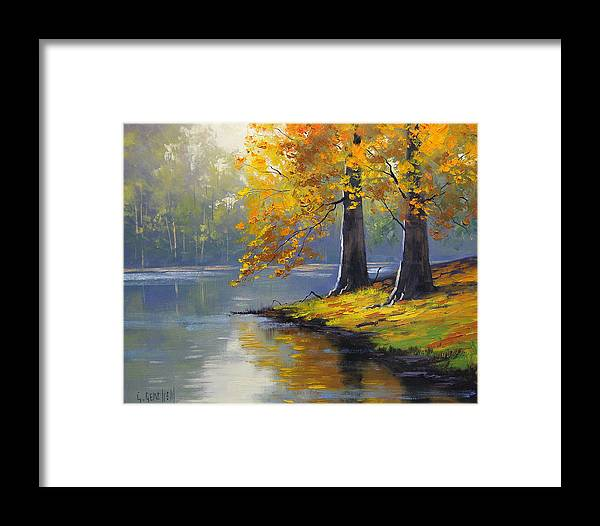 Fall Framed Print featuring the painting Autumn Lake Print by Graham Gercken