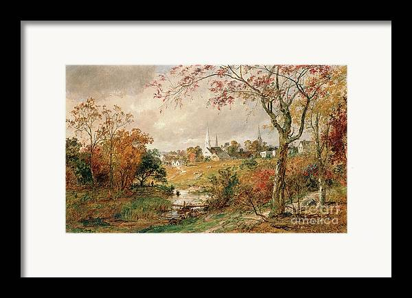 Autumn Landscape Framed Print featuring the painting Autumn Landscape by Jasper Francis Cropsey