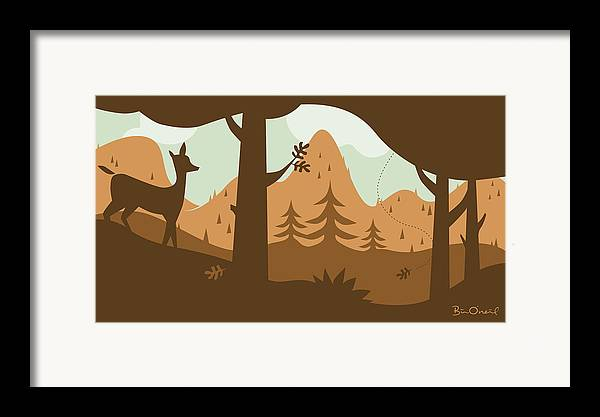 Landscape Framed Print featuring the print Autumn Landscape With Deer by Bill ONeil
