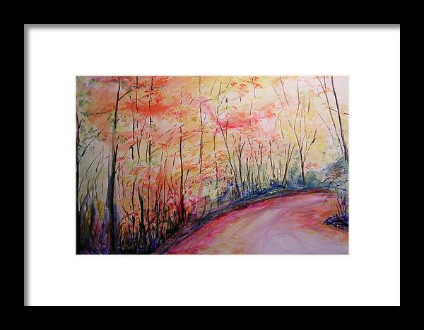 Landsape Framed Print featuring the painting Autumn Lane II by Lizzy Forrester