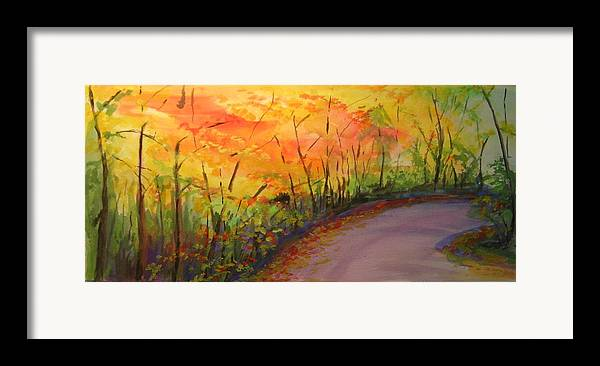 Original Landscape Impressionist Painting Framed Print featuring the painting Autumn Lane IIi by Lizzy Forrester