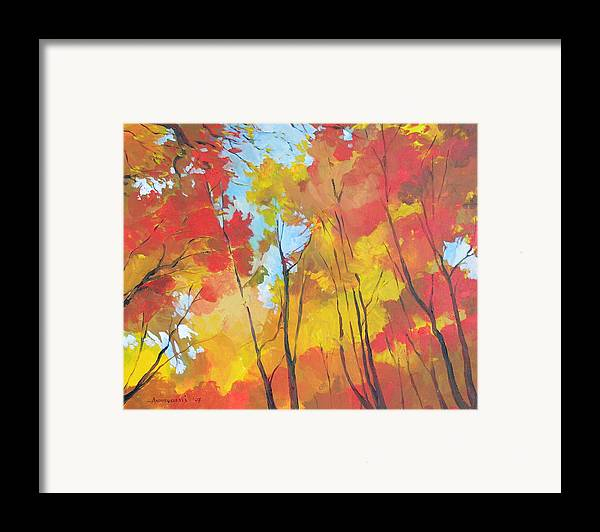 Landscape Framed Print featuring the painting Autumn Leaves by Alessandro Andreuccetti