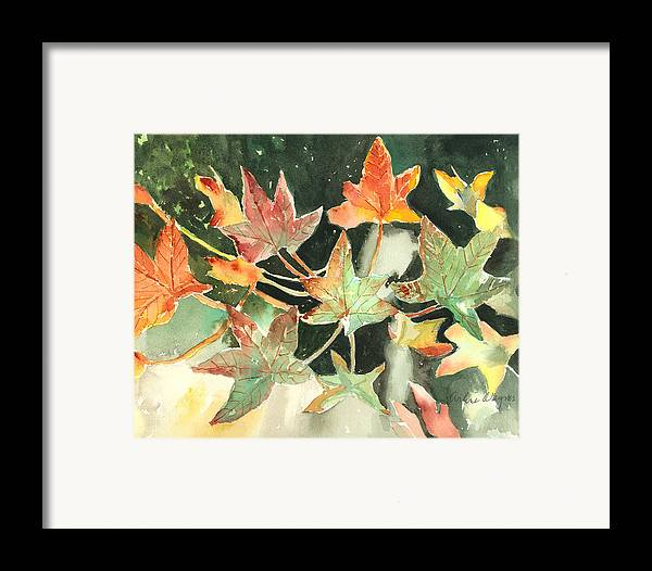Leaf Framed Print featuring the painting Autumn Leaves by Arline Wagner