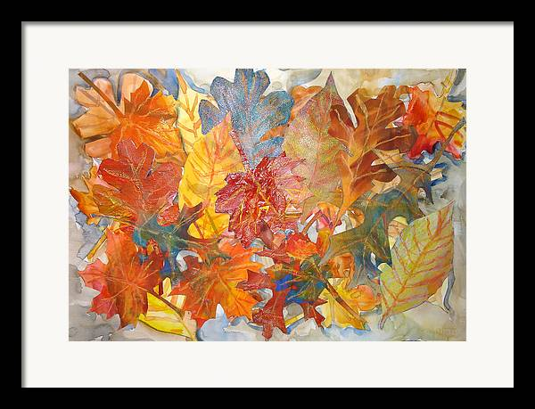 Collage Framed Print featuring the mixed media autumn Leaves Collage III by Joyce Kanyuk