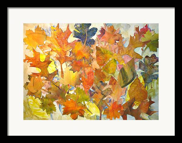 Autumn Framed Print featuring the mixed media Autumn Leaves by Joyce Kanyuk
