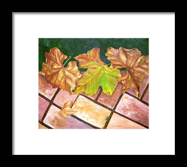 Leaves Framed Print featuring the painting Autumn Leaves by Olga Kaczmar