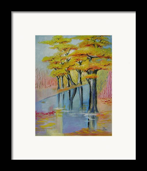 Abstract Framed Print featuring the painting Autumn by Lian Zhen