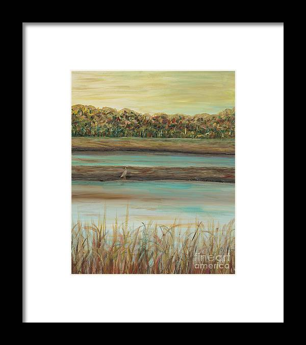 Bird Framed Print featuring the painting Autumn Marsh and Bird by Nadine Rippelmeyer