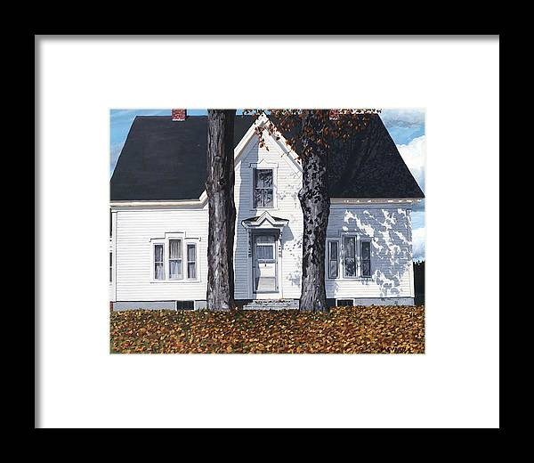 Landscape Urban Photorealism Michigan Traverse City Houses Victorian Back Yard Trike Childhood Framed Print featuring the painting Autumn by Michael Ward