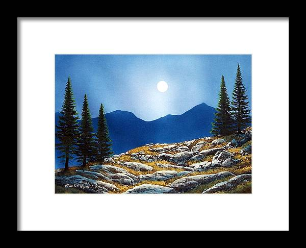 Landscape Framed Print featuring the painting Autumn Moon by Frank Wilson