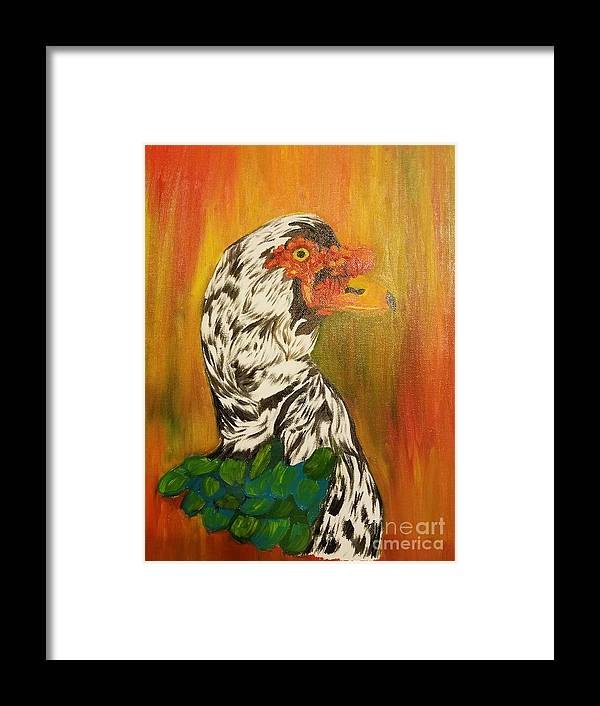 Autumn Muscovy Portrait Framed Print featuring the painting Autumn Muscovy Portrait by Maria Urso