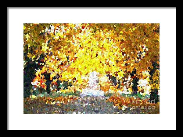Abstract Framed Print featuring the painting Autumn Path by Don Phillips