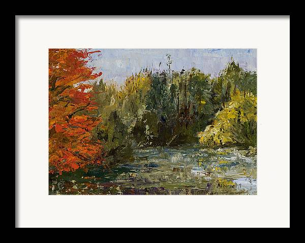 Morton Arboretum Scene Framed Print featuring the painting Autumn Pond by Nancy Albrecht