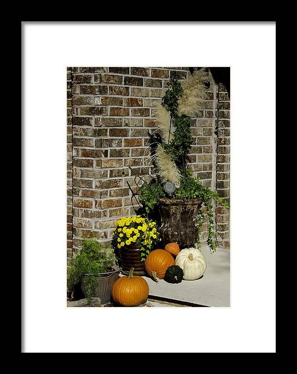 Autumn Framed Print featuring the photograph Autumn Porch Scene by Robert Kinser