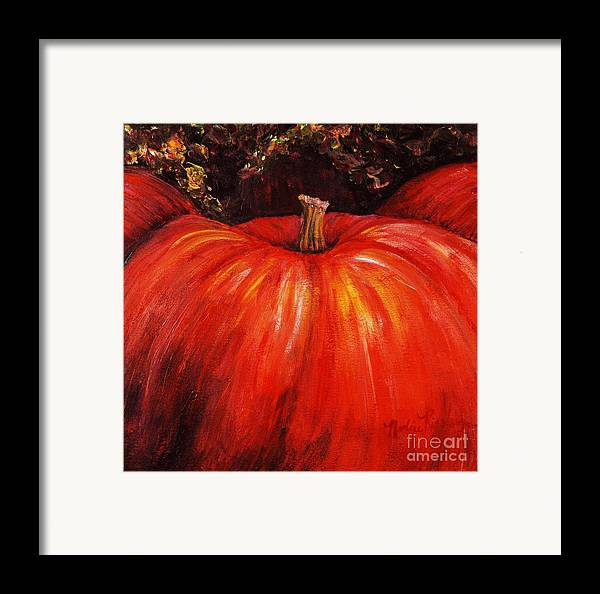 Orange Framed Print featuring the painting Autumn Pumpkins by Nadine Rippelmeyer