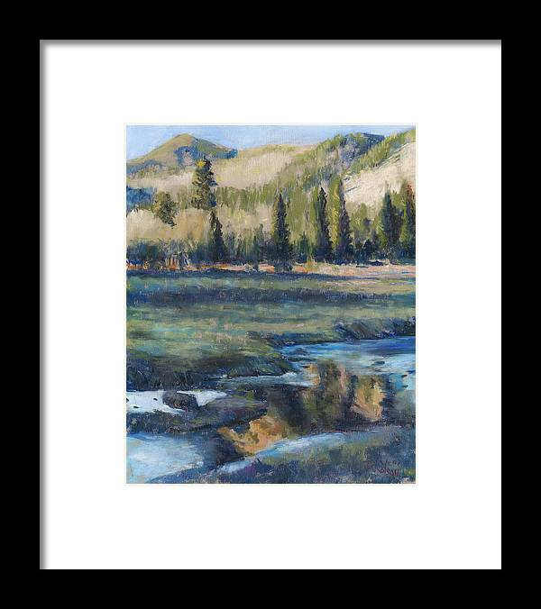 Partly Frozen River In The Rockies Framed Print featuring the painting Autumn Reflections by Billie Colson