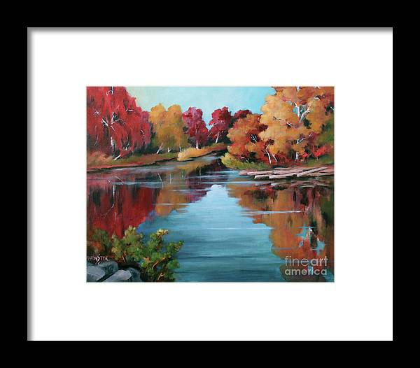 Landscape Framed Print featuring the painting Autumn Reflexions 1 by Marta Styk