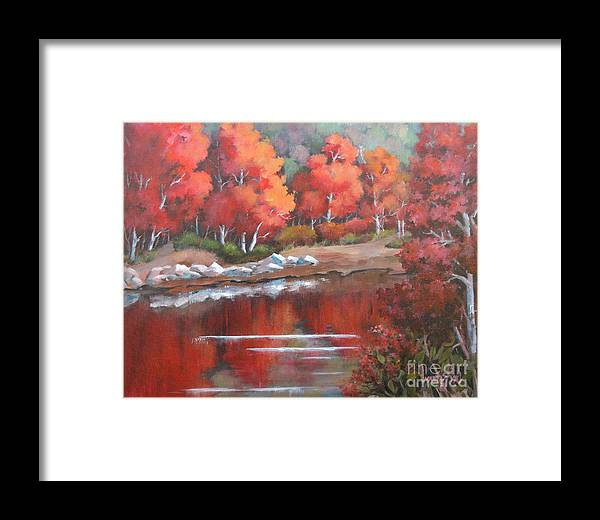 Landscape Framed Print featuring the painting Autumn Reflexions 2 by Marta Styk