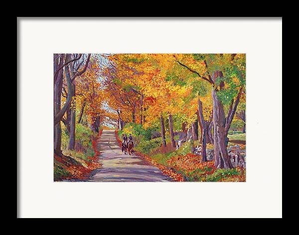 Landscape Framed Print featuring the painting Autumn Ride by David Lloyd Glover