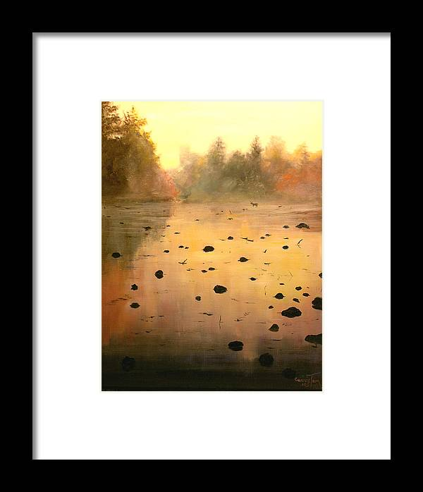 Hudson River School Framed Print featuring the painting Autumn River Fog by Connie Tom