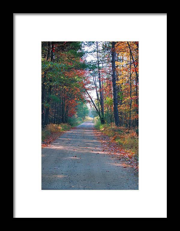 Autumn Framed Print featuring the photograph Autumn Road by Jennifer Englehardt
