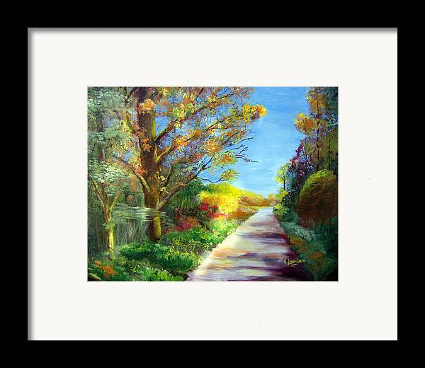 Landscape Framed Print featuring the painting Autumn Roads by Julie Lamons