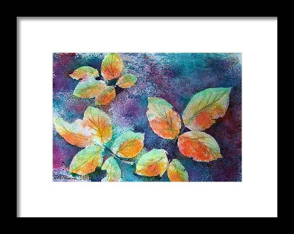 Rose Framed Print featuring the painting Autumn Rose Leaves by Sherri Patterson