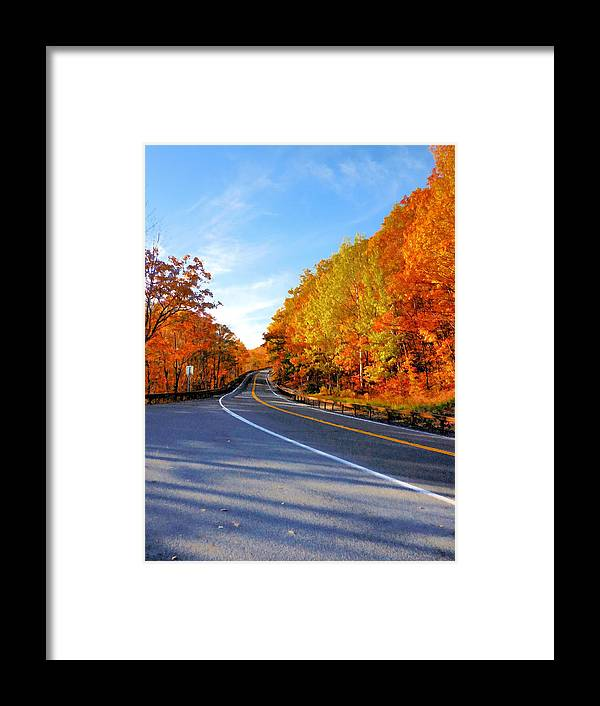 Autumn Scene With Road In Forest Framed Print featuring the painting Autumn Scene With Road In Forest 2 by Jeelan Clark