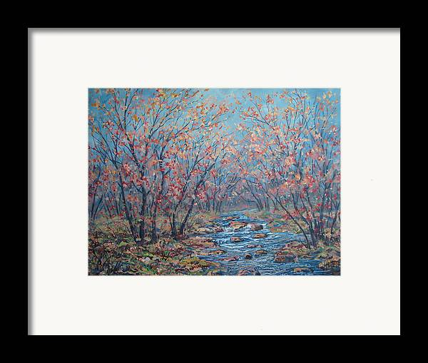 Landscape Framed Print featuring the painting Autumn Serenity by Leonard Holland