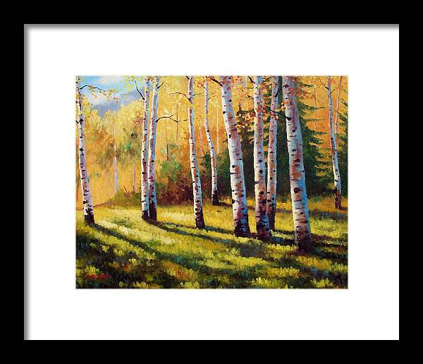 Landscape Framed Print featuring the painting Autumn Shade by David G Paul