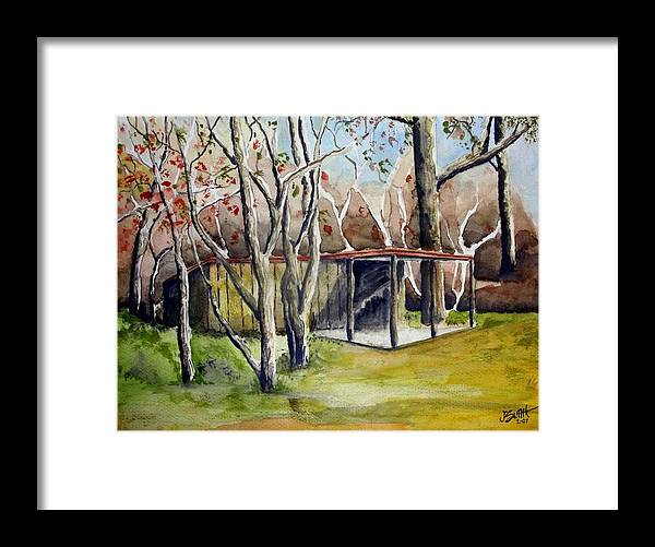 Autumn Framed Print featuring the painting Autumn Shed by Jimmy Smith