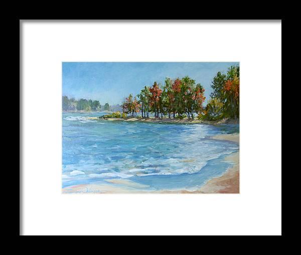 North Carolina Lake Framed Print featuring the painting Autumn Shores - Jordan Lake by L Diane Johnson