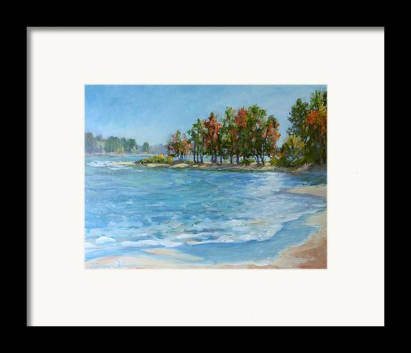 North Carolina Lake Framed Print featuring the painting Autumn Shores - Jordan Lake by L Diane Johnson